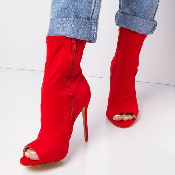 Red Peep Toe Heels Fashion Boots Suede Stiletto Heels Ankle Booties image 1