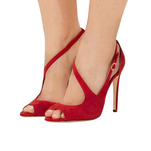 Red Peep Toe Heels Suede Stiletto Heels Sandals for Women image 1