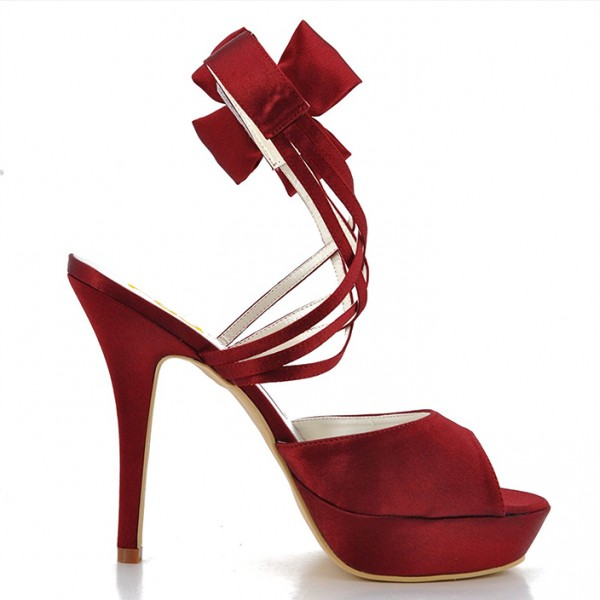 Burgundy Heels Evening Shoes Satin Peep Toe Stiletto Heels Sandals image 5