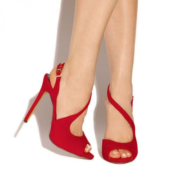 Red Peep Toe Heels Suede Stiletto Heels Sandals for Women image 2