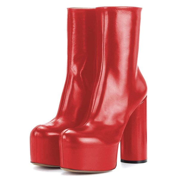 Red Platform Boots Fashion Chunky Heel Ankle Boots image 1