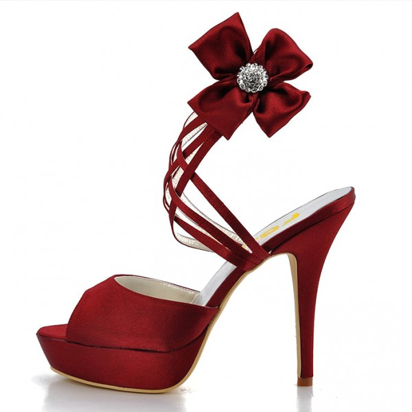 Burgundy Heels Evening Shoes Satin Peep Toe Stiletto Heels Sandals image 6