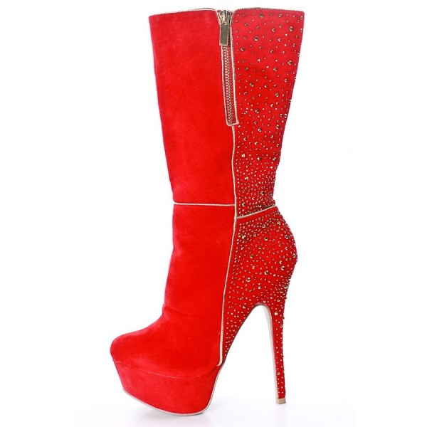 best authentic new design popular stores Red Platform Boots Studs Embellished Suede High Heel Boots for ...