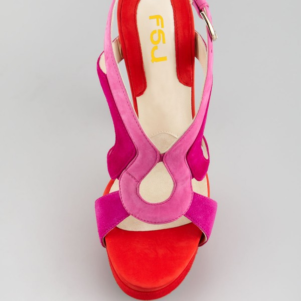 Women's Coral Red Ankle Strap Sandals Chunky Heels Stripper Heels image 3