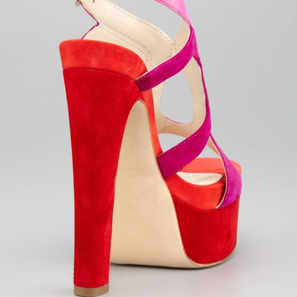 Women's Coral Red Ankle Strap Sandals Chunky Heels Stripper Heels image 4