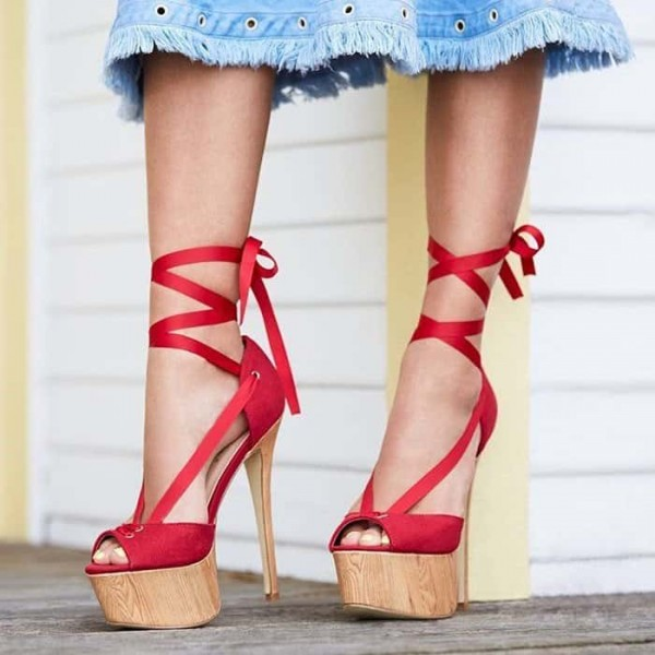 d3e819b52dd Red Platform Sandals Peep Toe Stiletto Heels Strappy Sandals