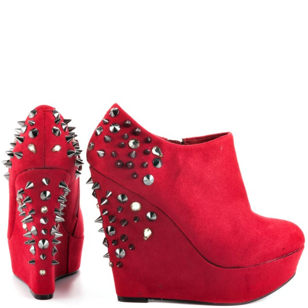 Red Wedge Shoes Fashion Boots Rivets Ankle Boots Suede Platform Almond Toe Boots image 3