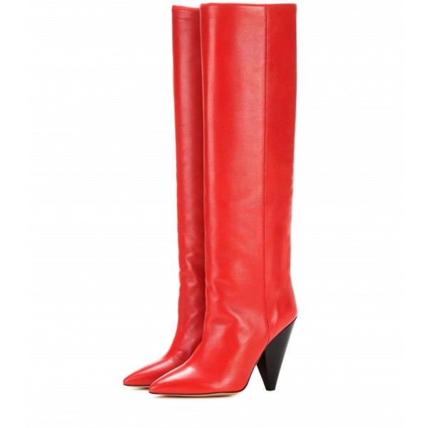 Red Pointy Toe Cone Heels Knee-high Long Boots image 1