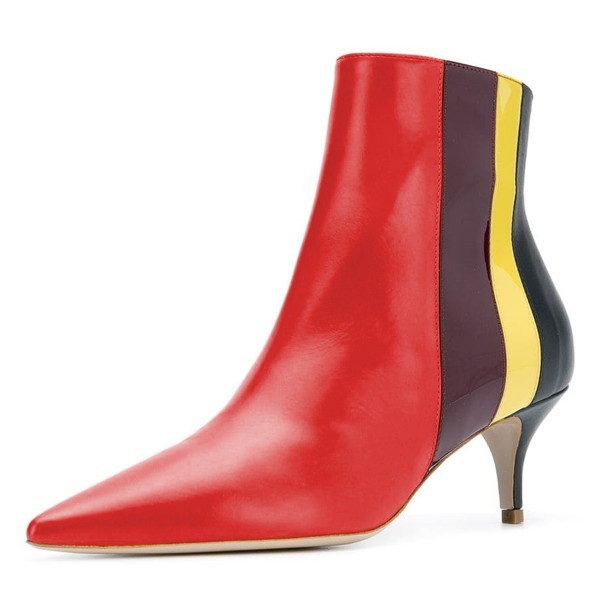Red Pointy Toe Kitten Heel Boots Multicolor Stripes Ankle Booties image 1