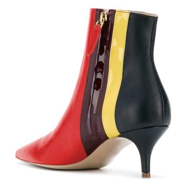 Red Pointy Toe Kitten Heel Boots Multicolor Stripes Ankle Booties image 4