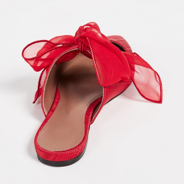Red Pointy Toe Flats Bow Mule image 3