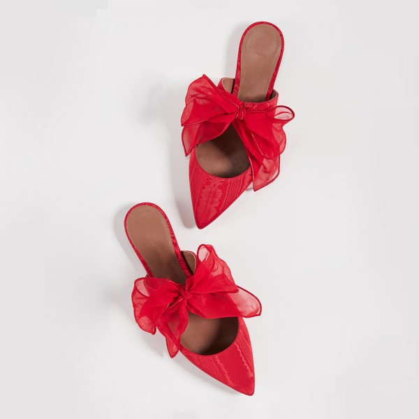 Red Pointy Toe Flats Bow Mule image 2