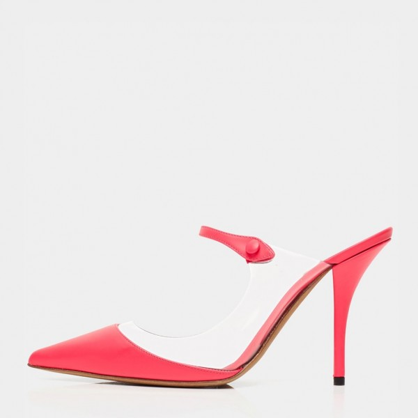 Red Pointy Toe PVC Mule Heels Pumps image 2