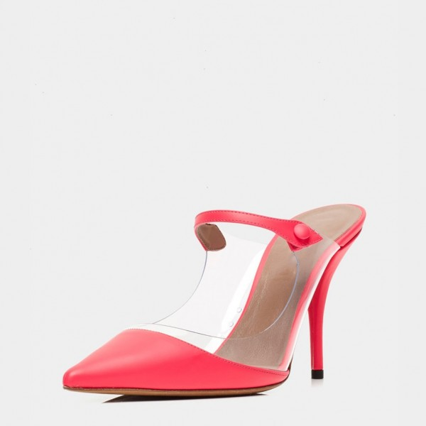 Red Pointy Toe PVC Mule Heels Pumps image 1