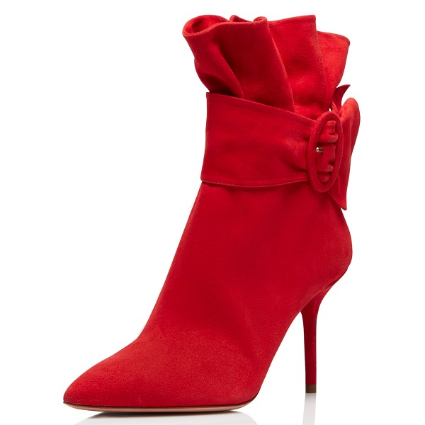 Red Pointy Toe Ruffle Buckle Stiletto Heels Ankle Booties image 1