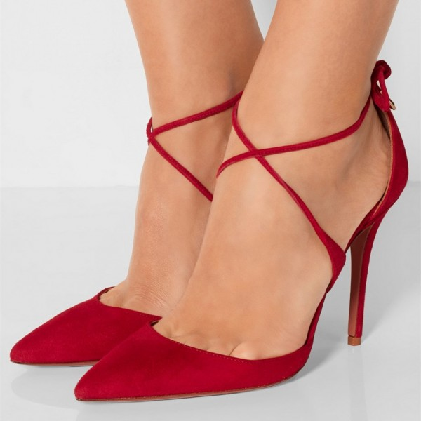 Women's Red Strappy Heels Pointy Toe Stilettos Pumps image 1
