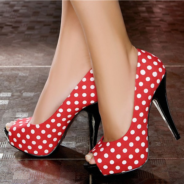 Women's Red Polka Dot  Peep Toe Heels Pumps Shoes image 1
