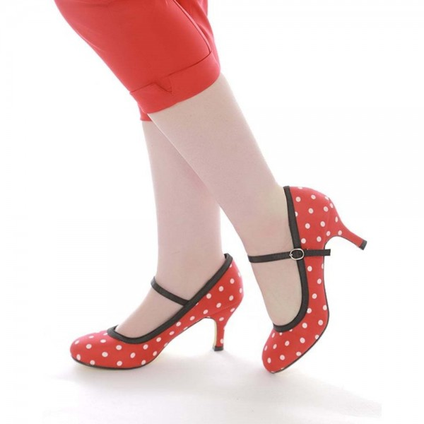 Red Polka Dot Round Toe Stiletto Heel Mary Jane Pumps image 3