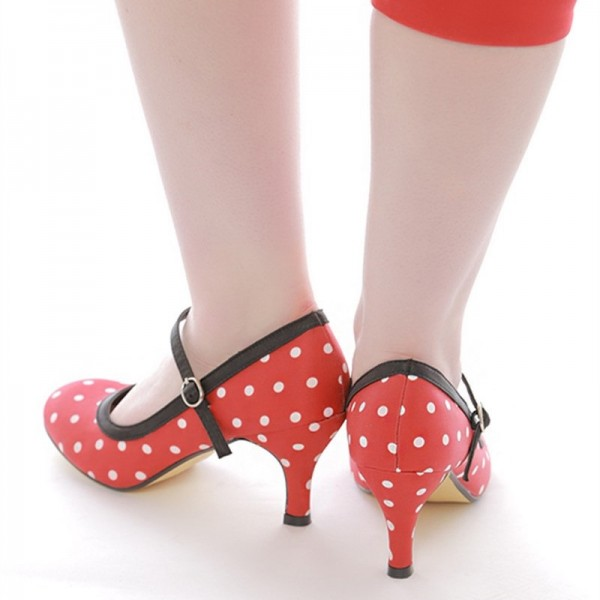 Red Polka Dot Round Toe Mary Jane Pumps image 4