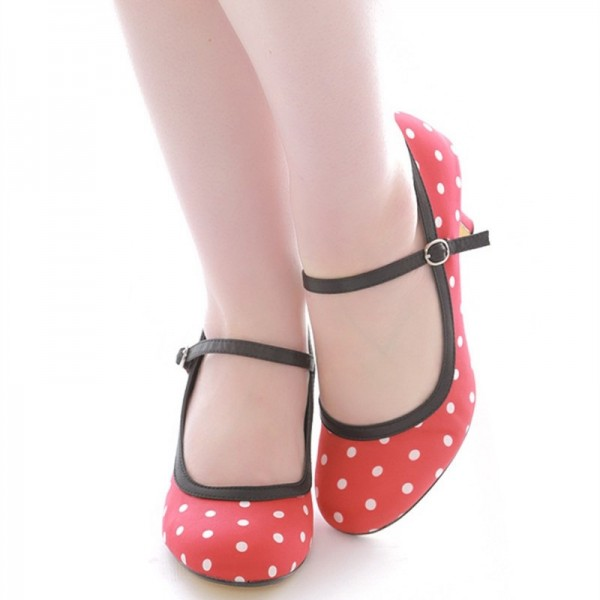 Red Polka Dot Round Toe Stiletto Heel Mary Jane Pumps image 5