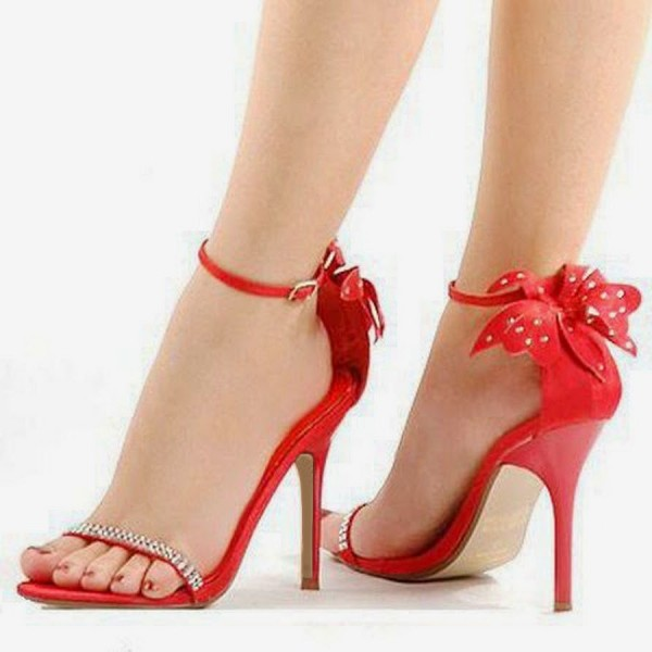Red Prom Shoes Ankle Strap Flower Sandals with Rhinestone image 1