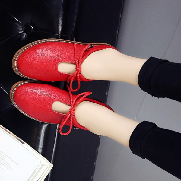 Red Comfortable Flats Vintage Lace up Shoes US Size 3-15 image 3