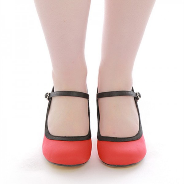Red Round Toe Mary Jane Pumps image 4