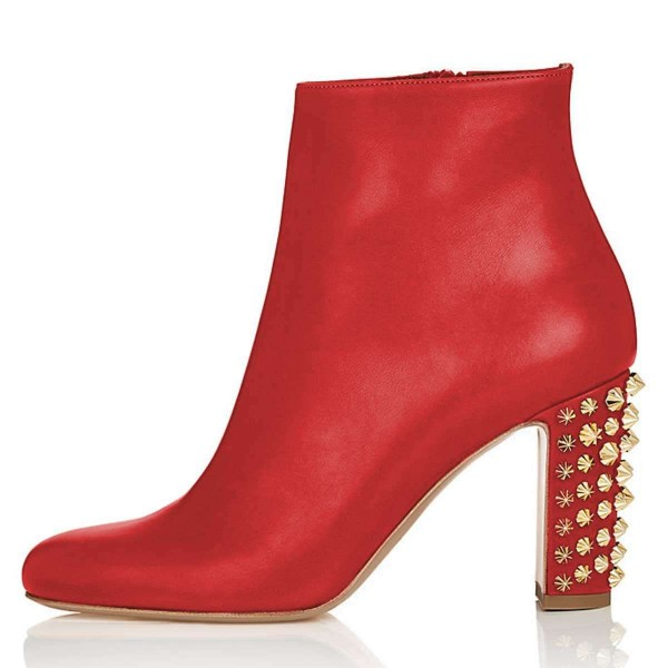 Red Round Toe Studs Chunky Heel Boots Ankle Boots image 2