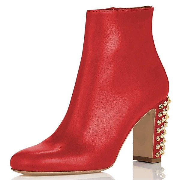 Red Round Toe Studs Chunky Heel Boots Ankle Boots image 1