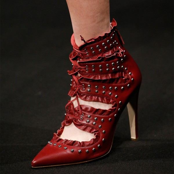Red Lace Up Boots Pointy Toe 4 Inch Stiletto Heel Pumps for Women image 1