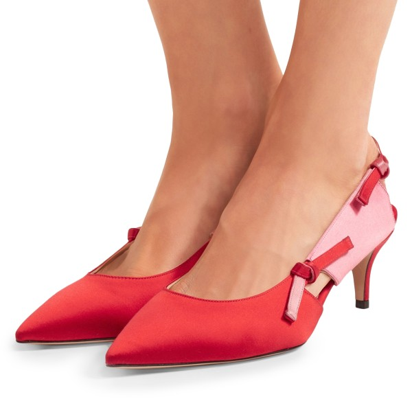 28a640c8c4 Red Satin Kitten Heel Slingback Pumps for Work, Formal event, Party ...