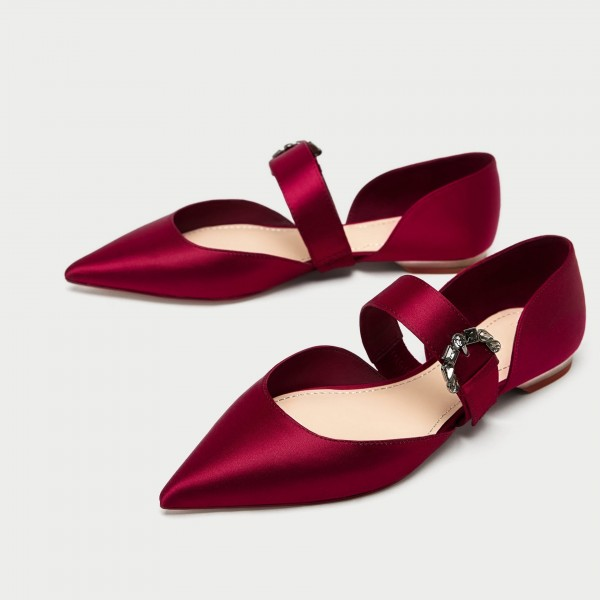 Women s Red Satin Mary Jane Shoes Pointy Toe Flats Ballet Shoes image ...