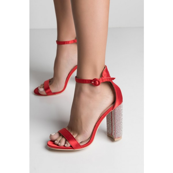 Red Satin Open Toe Rhinestone Chunky Heels Ankle Strap Sandals image 3