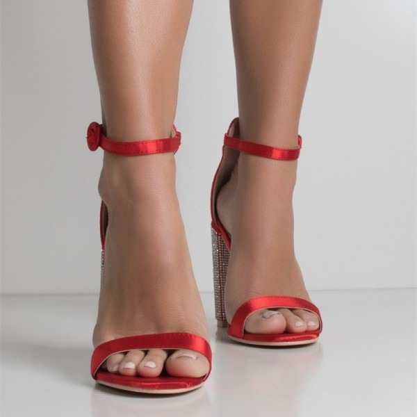 Red Satin Open Toe Rhinestone Chunky Heels Ankle Strap Sandals image 2