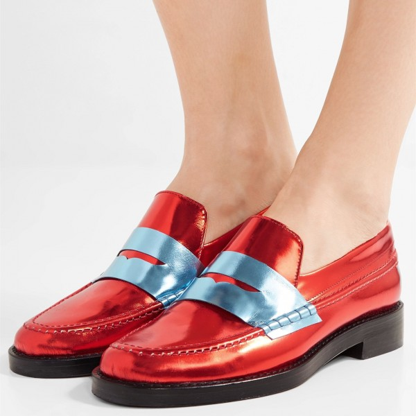 Red Shiny Vegan Leather Trending Flat Penny Loafers for Women image 1
