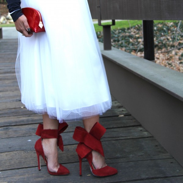 Women's Red Wedding Shoes Cute Bow Stiletto Heels Pointy Toe Ankle Strap Pumps image 3