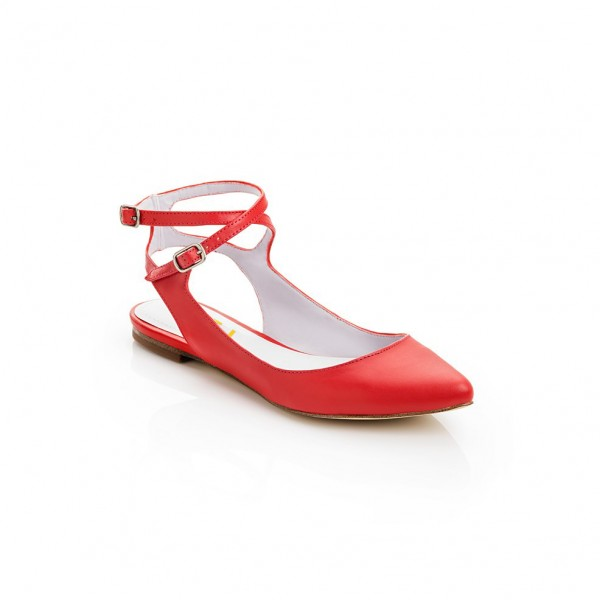 Women's Red Flats Ankle Strap Pointed Toe Slingback Shoes image 2