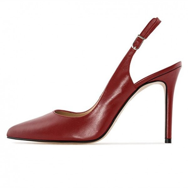 Burgundy Heels 4 Inches Slingback Pumps for Office Ladies image 1