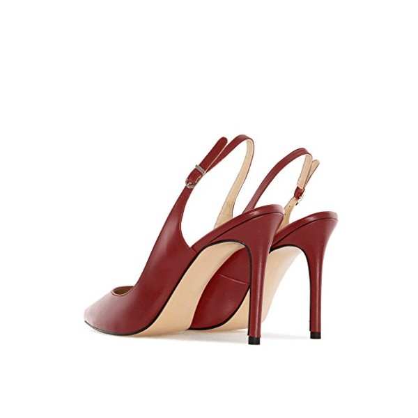 Burgundy Heels 4 Inches Slingback Pumps for Office Ladies image 2