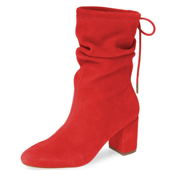 red suede slouch boots