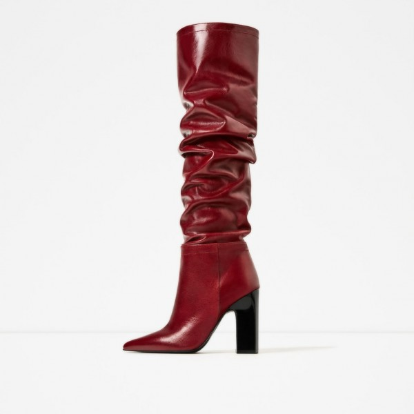 6539be2ce05 Red Slouch Boots Pointy Toe Chunky Heels Knee-high Boots for Music ...