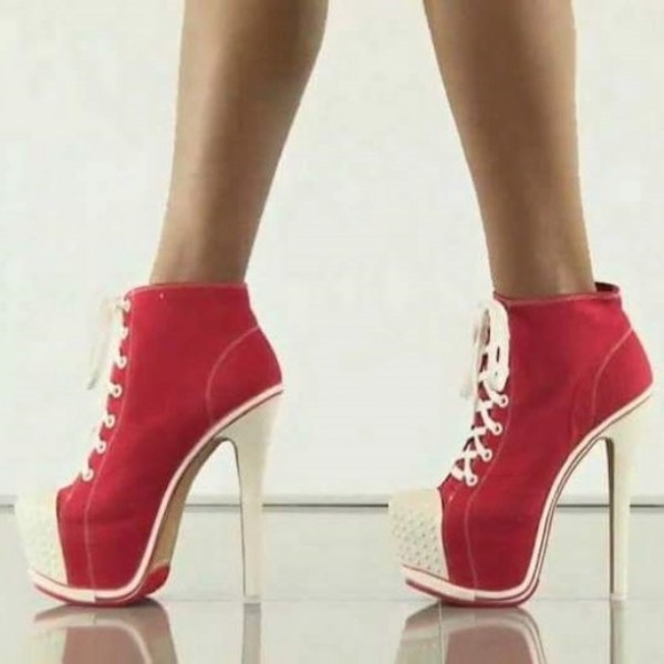 Red Lace up Heels Platform Sneakers for Women image 1