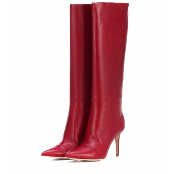 Red Stiletto Boots Pointy Toe Knee High Boots image 1