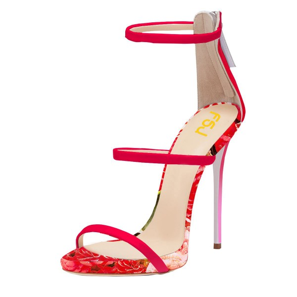 Red Stiletto Heels Dress Shoes Open Toe Sexy Flower Sandals by FSJ image 1