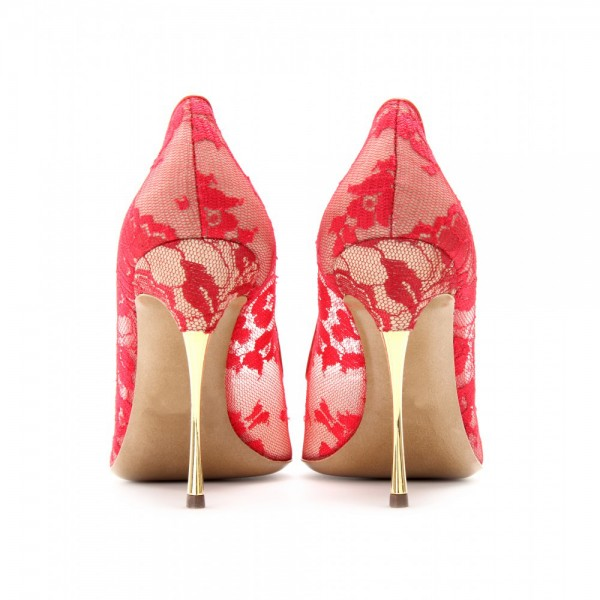 Red Lace Wedding Heels Stiletto Heel Pointed Toe Pumps image 4