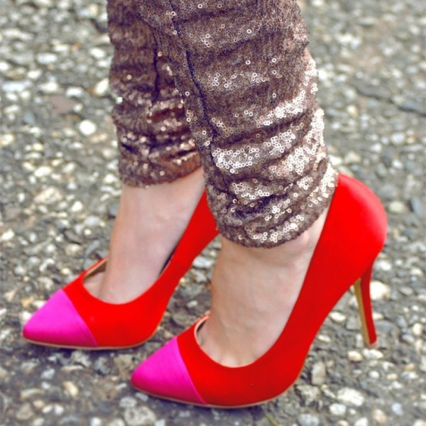 Red Stiletto Heels Pink Pointy Toe Pumps for Ladies image 1