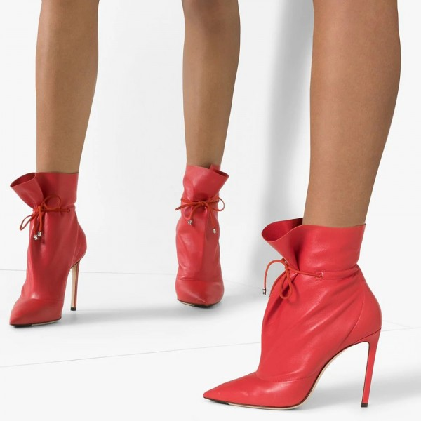 Red Stitch Lace up Stiletto Boots Ankle Boots image 3