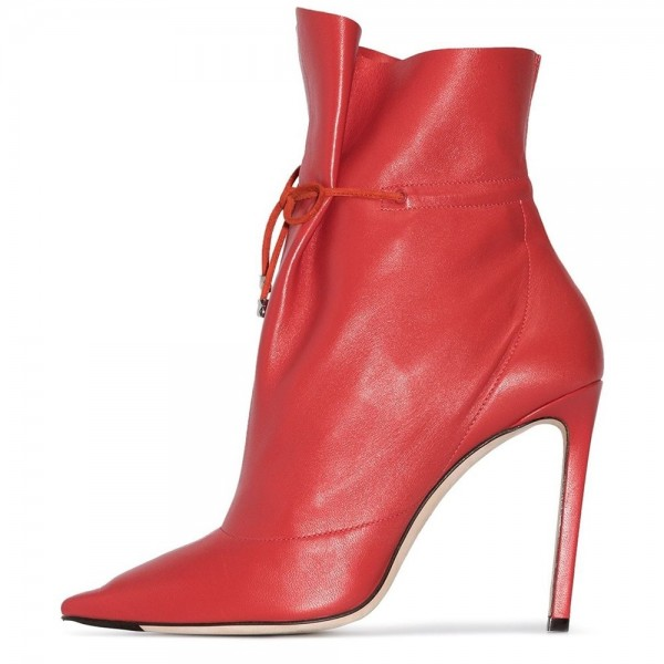Red Stitch Lace up Stiletto Boots Ankle Boots image 1