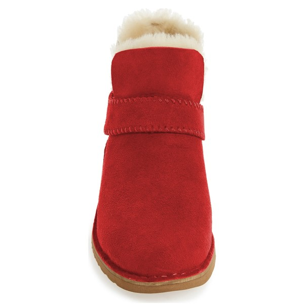 Red Winter Boots Flat Round Toe Suede Comfy Short Boots US Size 3-15 image 2