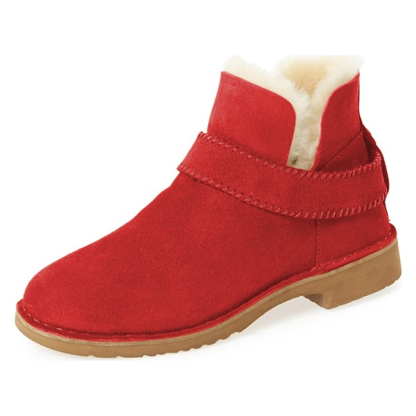 Red Winter Boots Flat Round Toe Suede Comfy Short Boots US Size 3-15 image 1